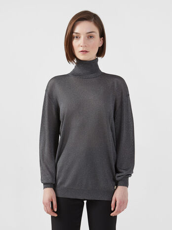 Polo neck pullover in a lurex yarn