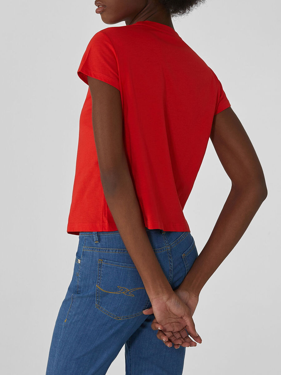 Cropped cotton T-shirt with rhinestones