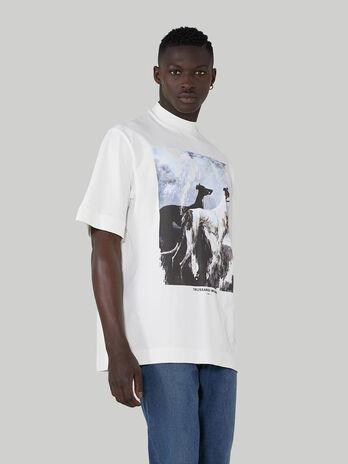 T-shirt coupe over en pur coton a imprime