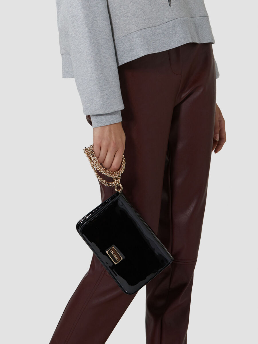 Patent leather 2 clutch with metal plate