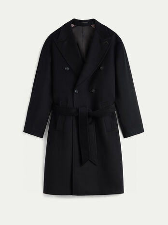 Regular fit cashmere and wool coat