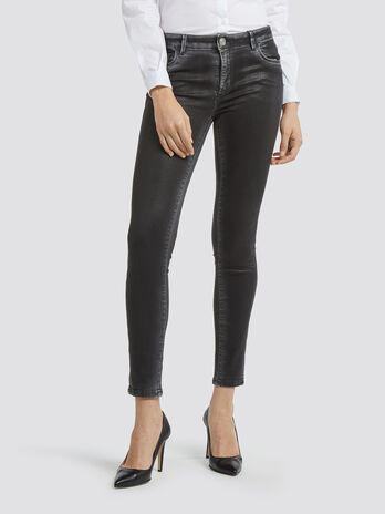 Super skinny jeans in washed leather
