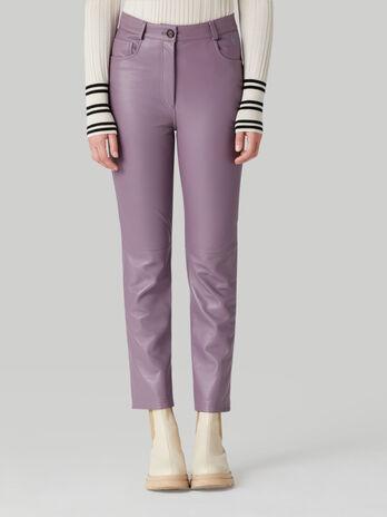 Plain nappa trousers
