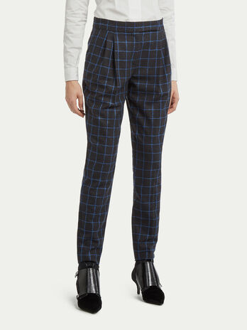 Chequered wool trousers with pleating