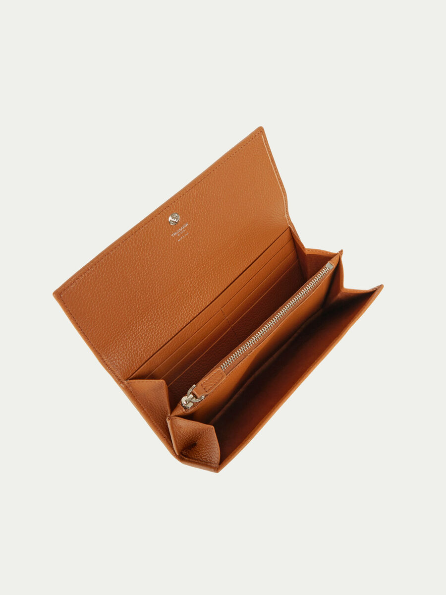 Leather continental purse with button fastening