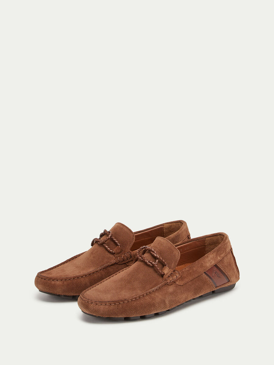 Perforated suede loafers with logo