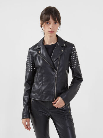 Biker jacket in similpelle con borchie