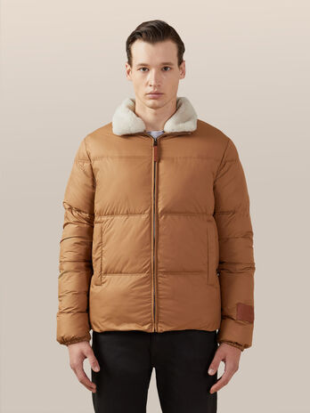 Soft nylon down jacket with faux fur collar