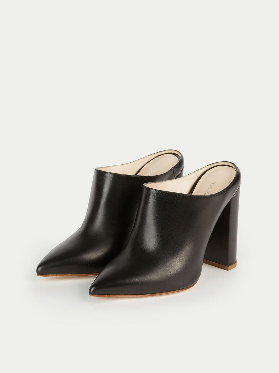 Solid colour leather mules with a chunky high heel