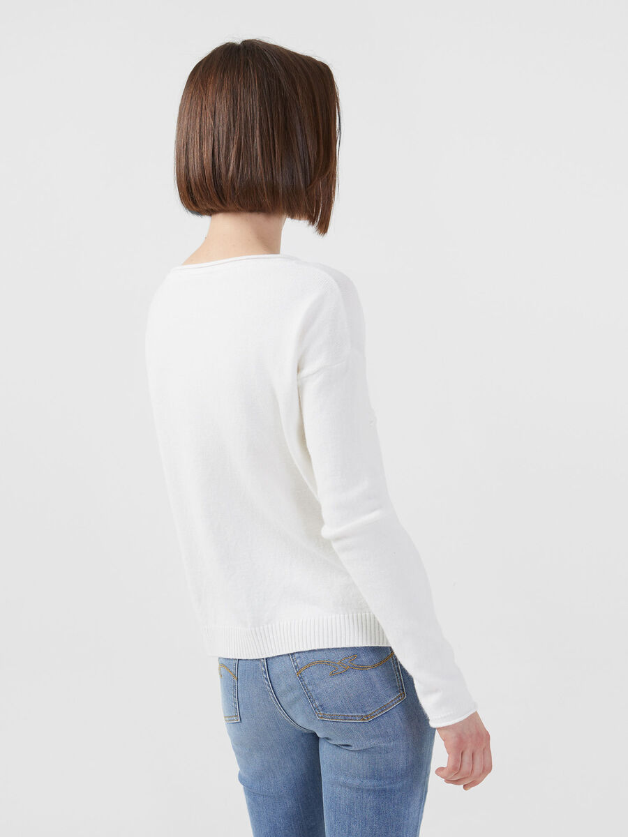 Pullover aus Stretch Viskose in Cropped Laenge