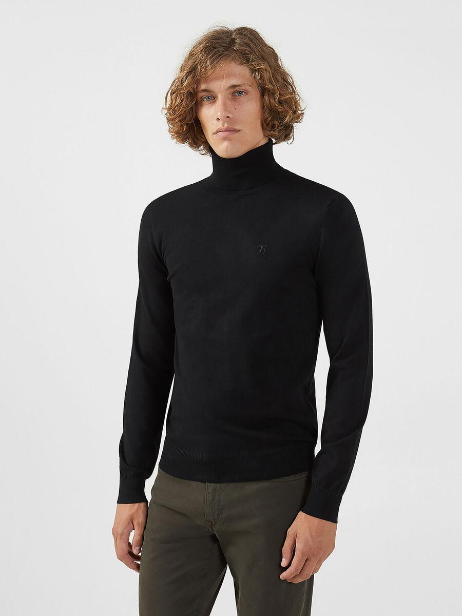 Jersey cuello alto de mezcla de viscosa de color liso