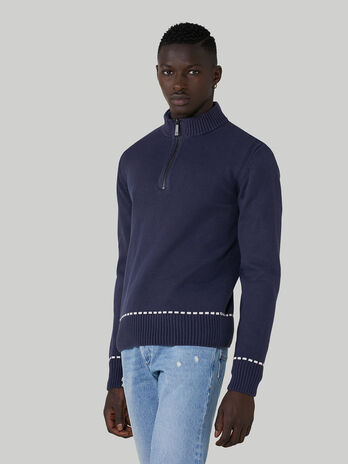 Pullover regular fit in cotone con mezza zip