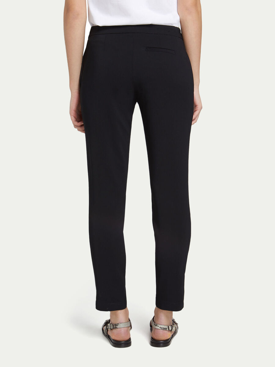 Viscose crepe trousers with mini branded band