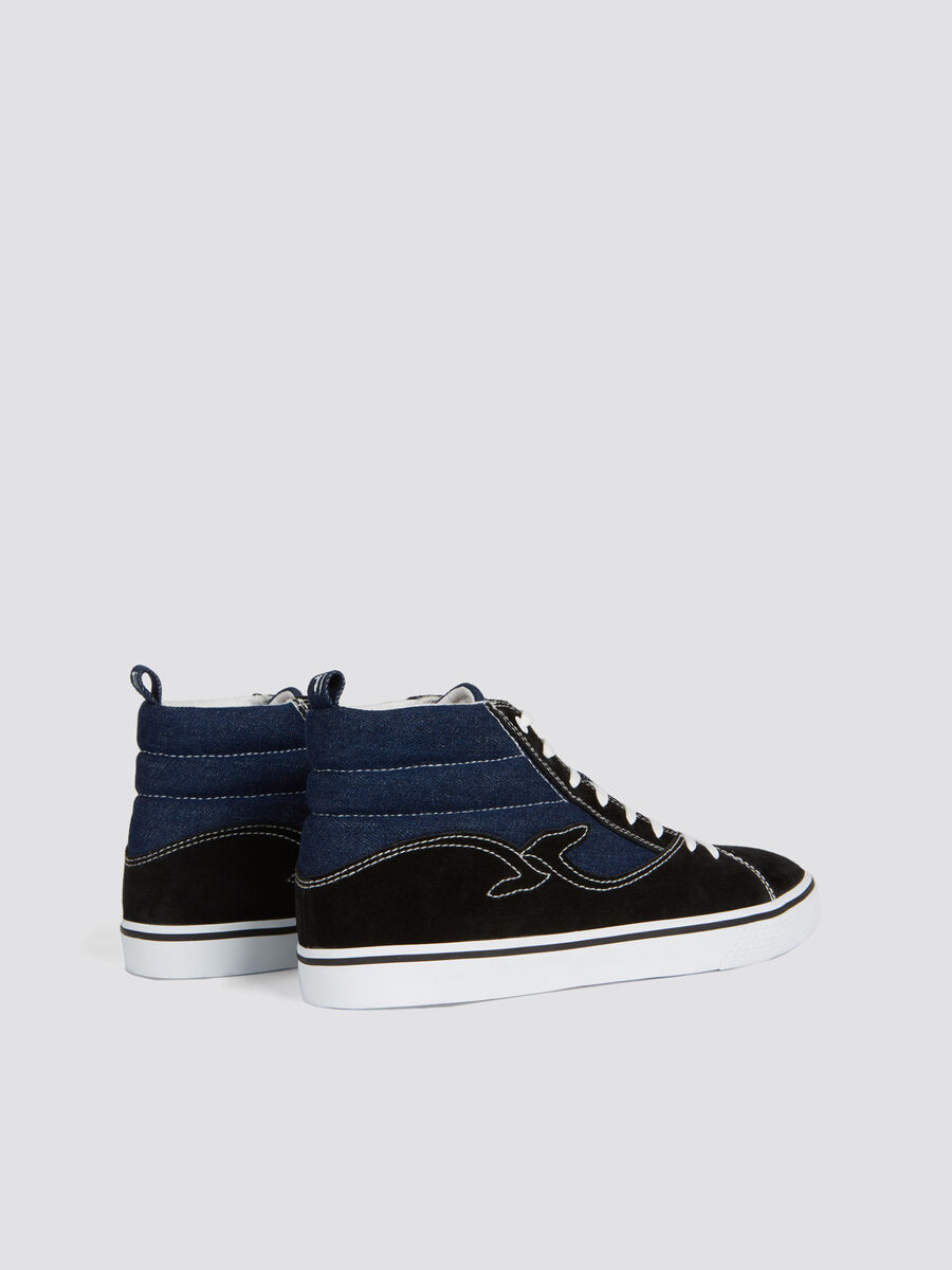 Two tone suede and denim high top sneakers with logo