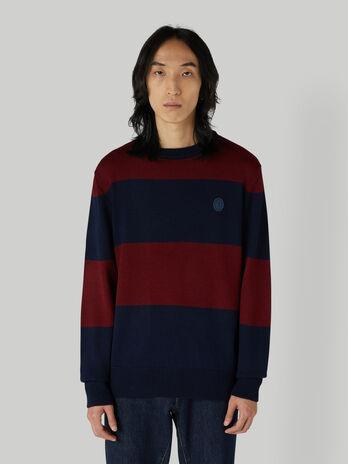 Regular-fit striped wool-blend pullover