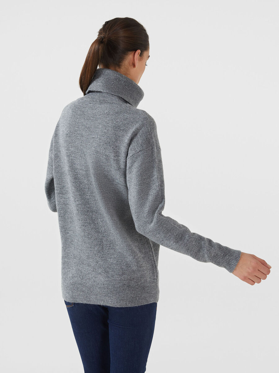 Oversized wool blend high neck pullover