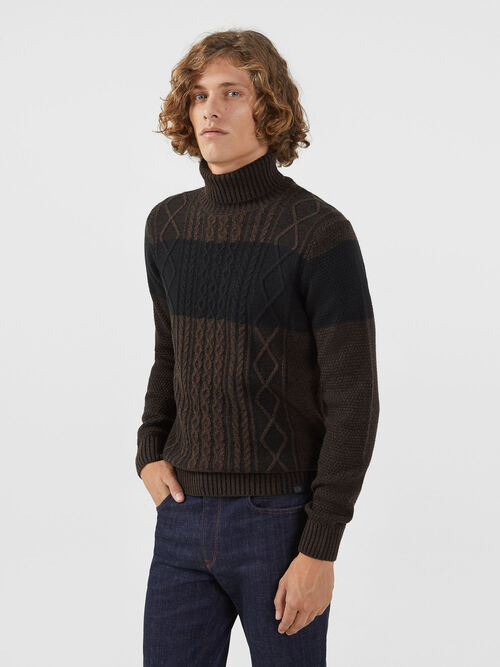 Regular fit two tone pullover in wool blend mouline