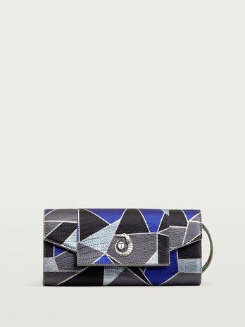Mosaic printed leather pochette