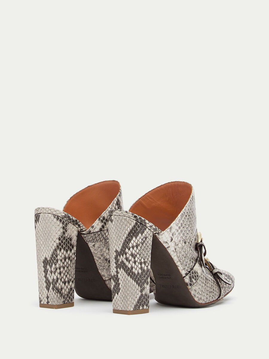 Mules in python print leather
