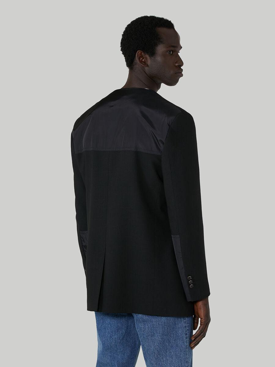 Blazer in pura lana con scollo a V