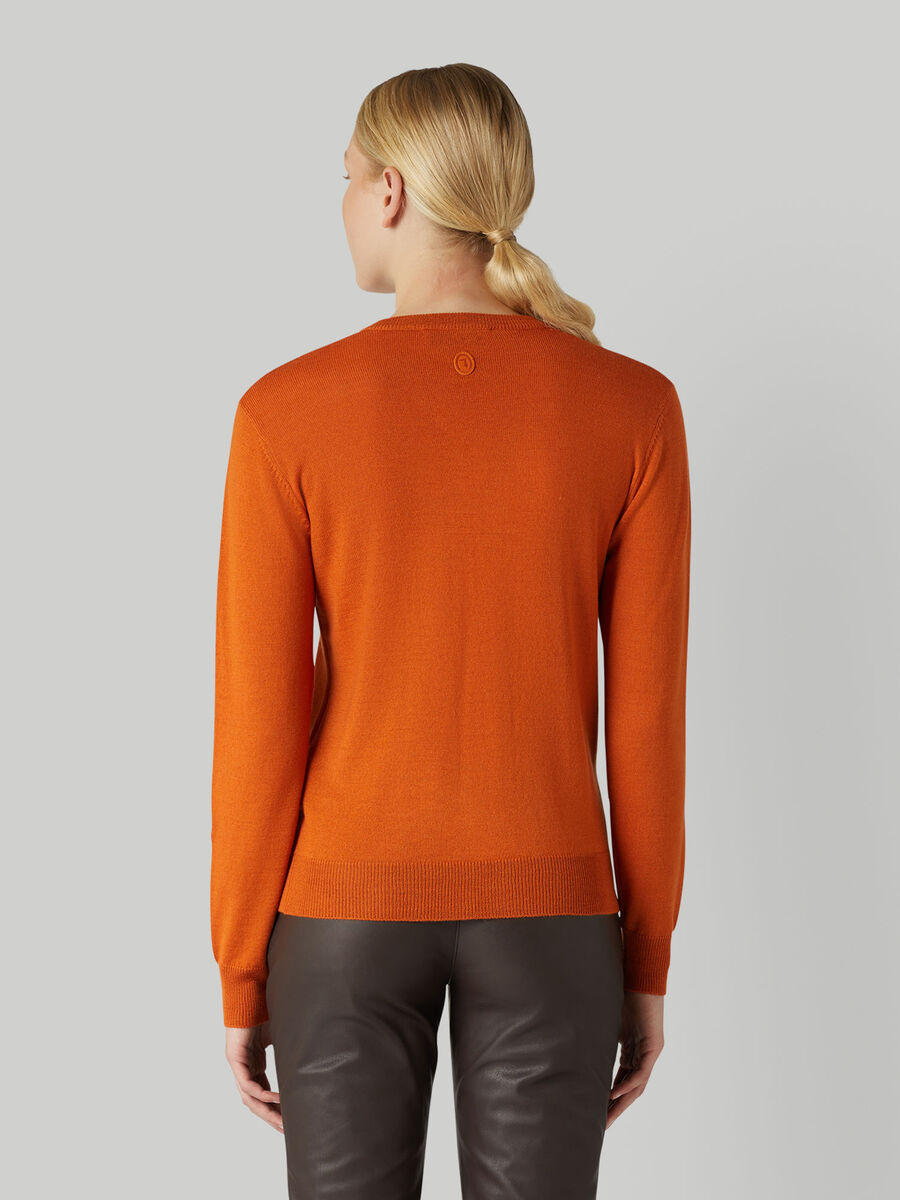 Regular-fit wool-blend V-neck pullover