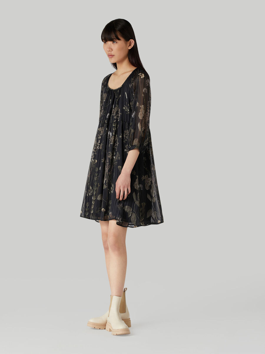 Short dress in floral-print fabric