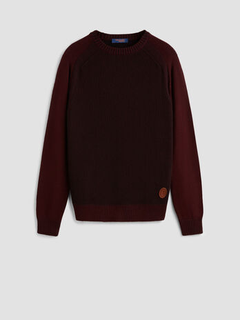 Regular fit two tone wool pullover