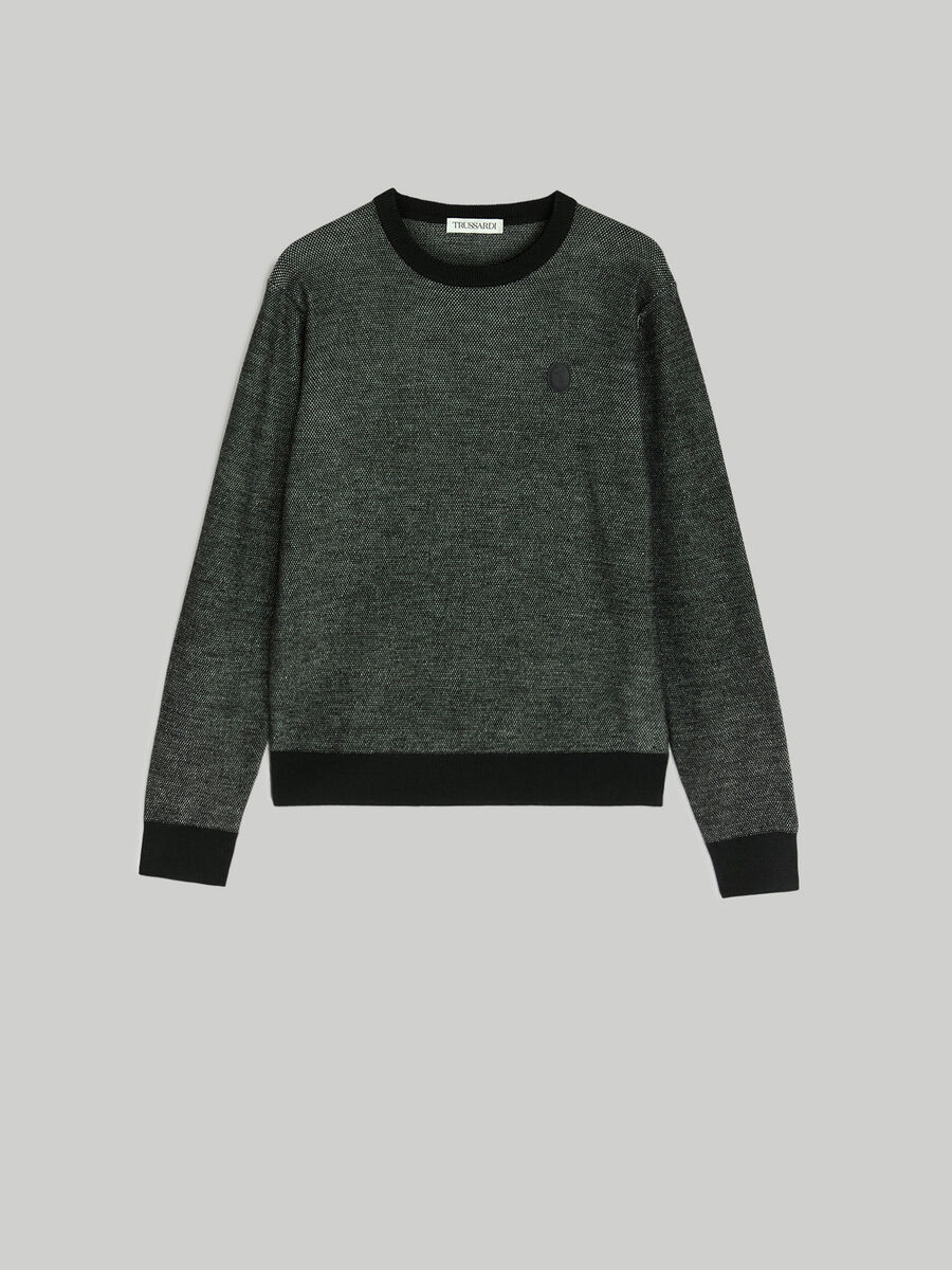 Regular-fit two-tone wool pullover