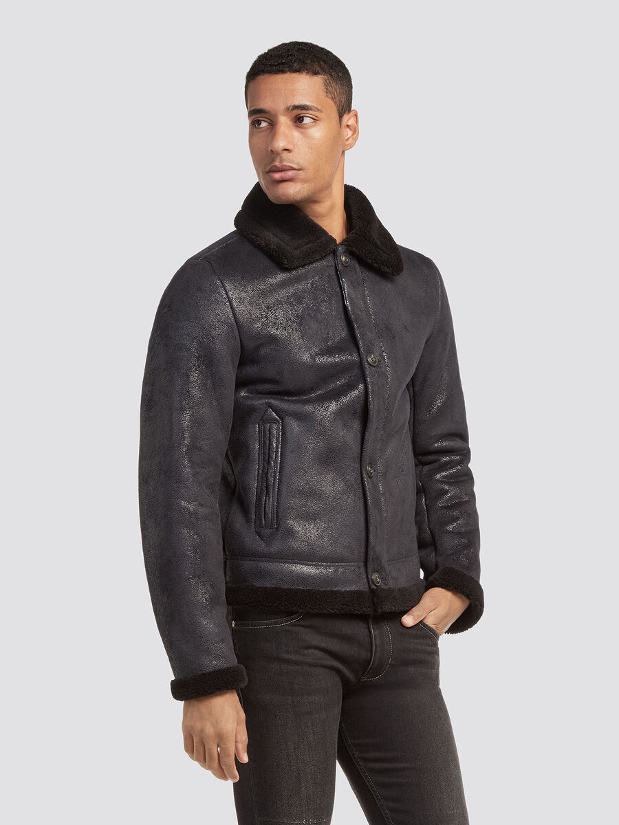 Regular fit eco shearling jacket