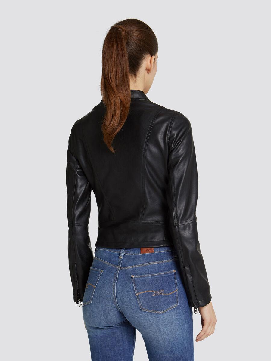 Solid colour faux leather biker jacket