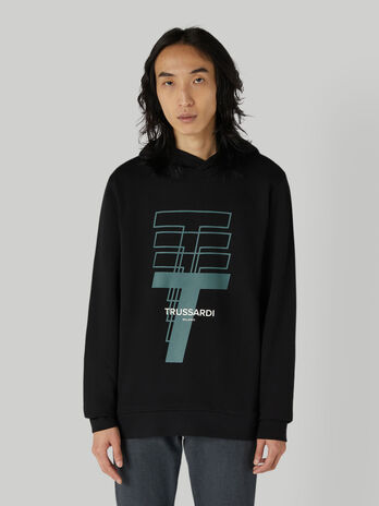 Regular-fit cotton hoody with logo print