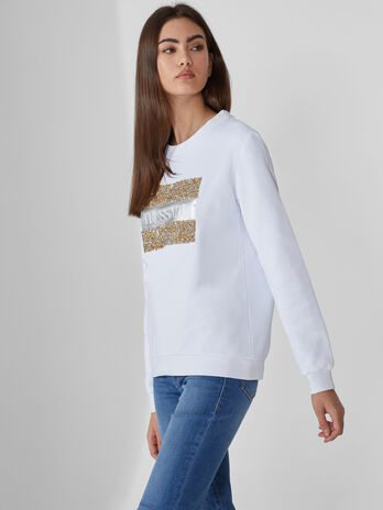 Sweat-shirt en coton a paillettes et lettering