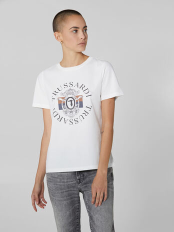 T-shirt in cotone con stampa logo