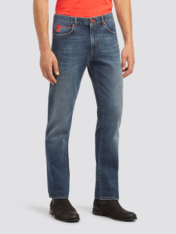 Icon fit distressed jeans with piping detail