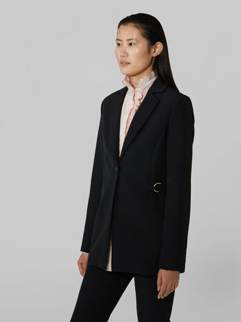 Belted technical cady blazer