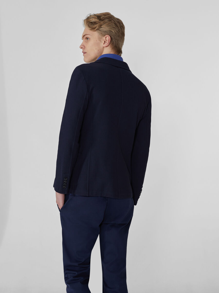 Slim-fit jersey Oxford blazer