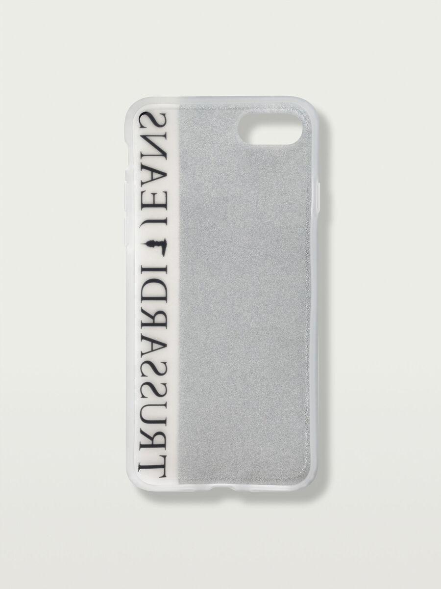 Cover iPhone 7 morbida glitterata con banda
