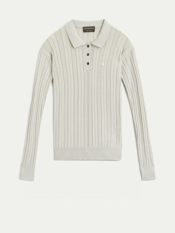 Ribbed viscose polo neck top