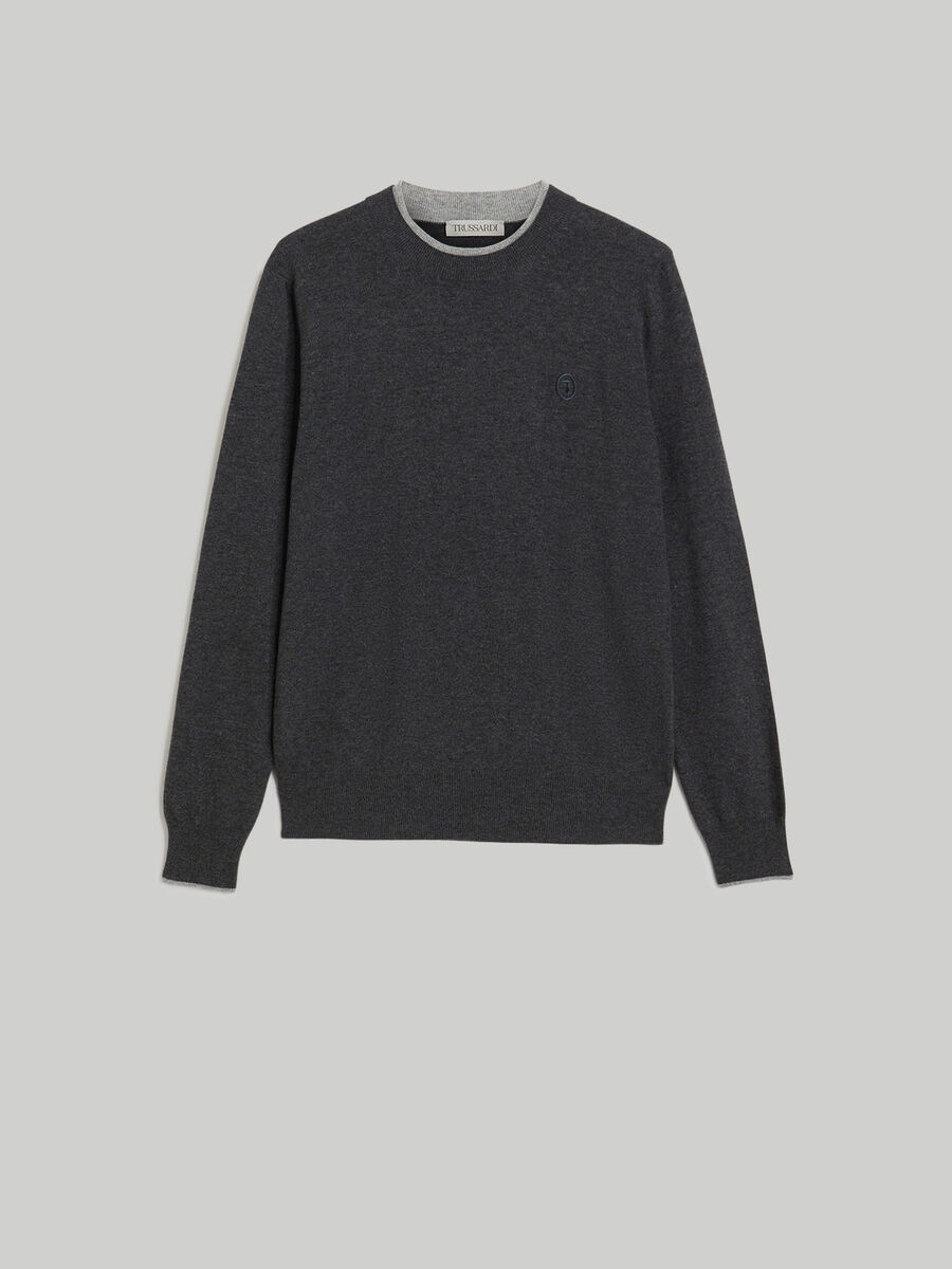 Regular-fit cashmere and wool-blend pullover