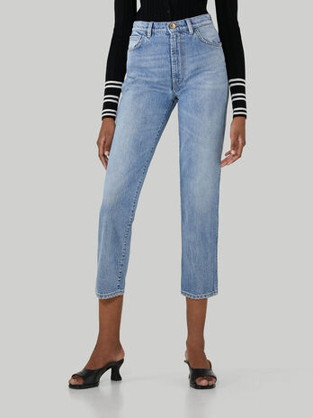 Cotton denim tube jeans