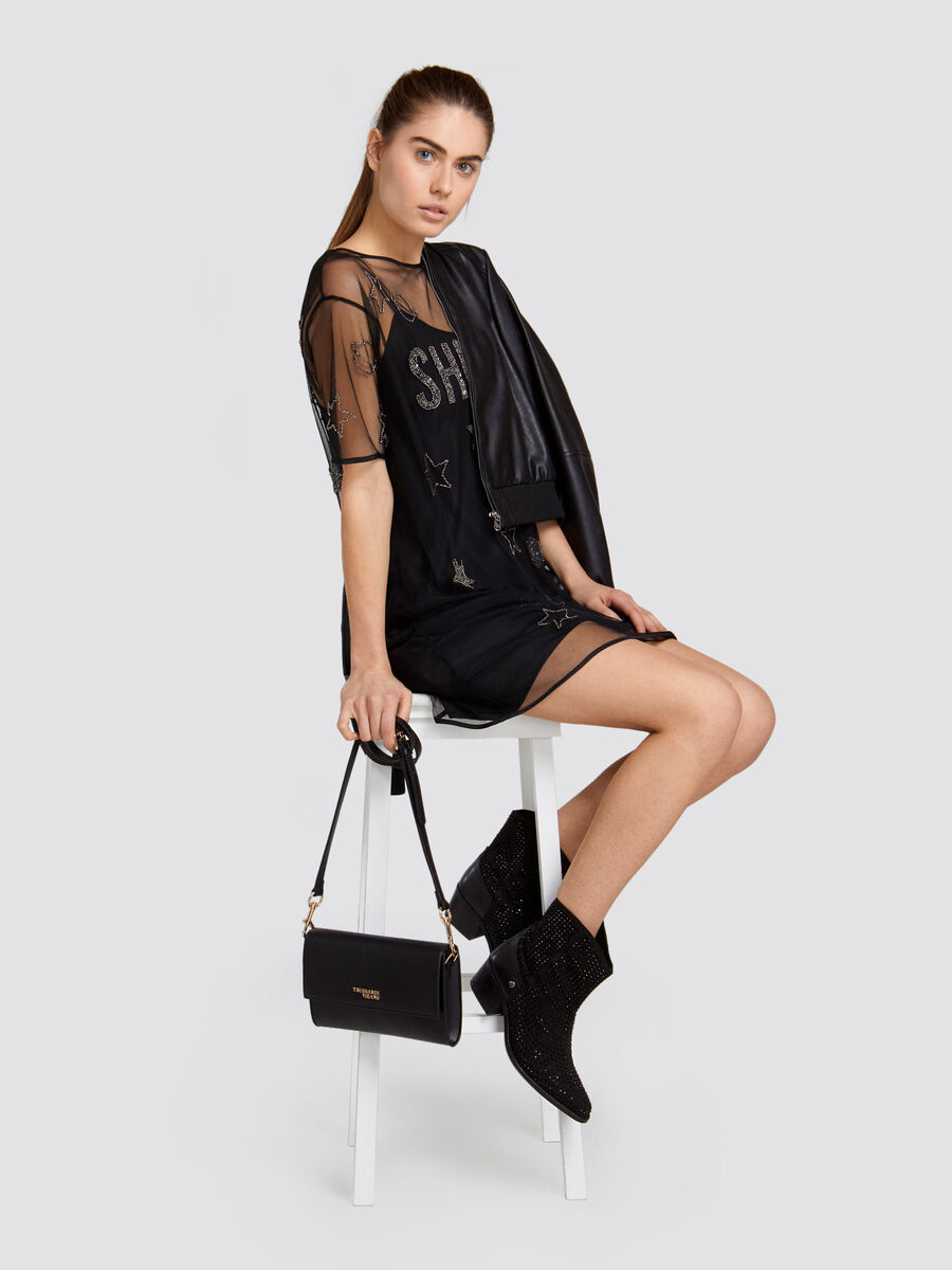 Oversized glittery tulle minidress faux double layer