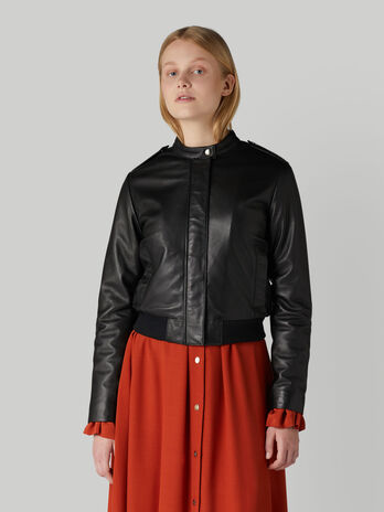 Glossy leather jacket with midi collar