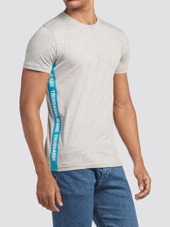 T Shirt mit Lettering Print Streifen