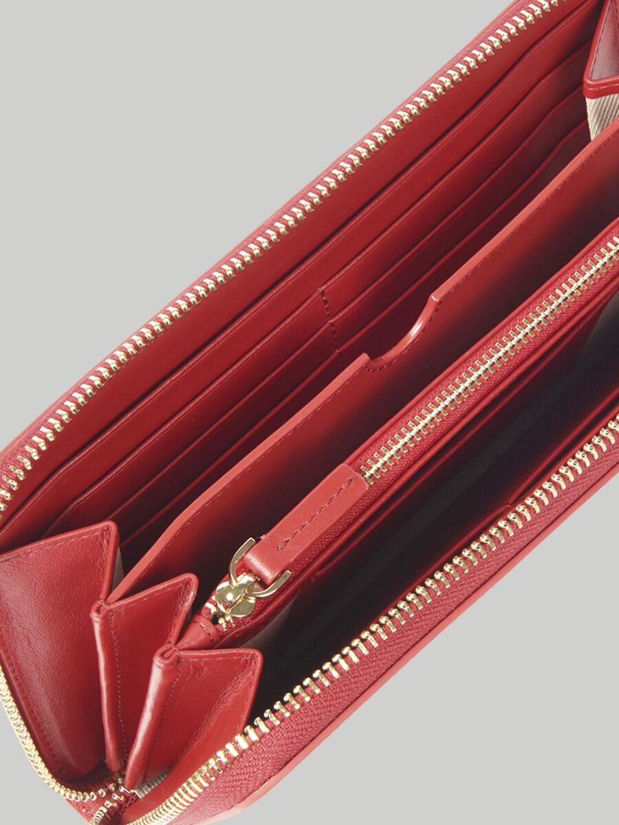 Portefeuille a contour zippe Venezia en cuir