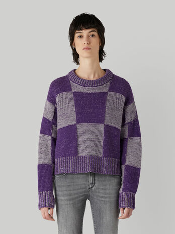 Pullover in mixed wool with checked pattern