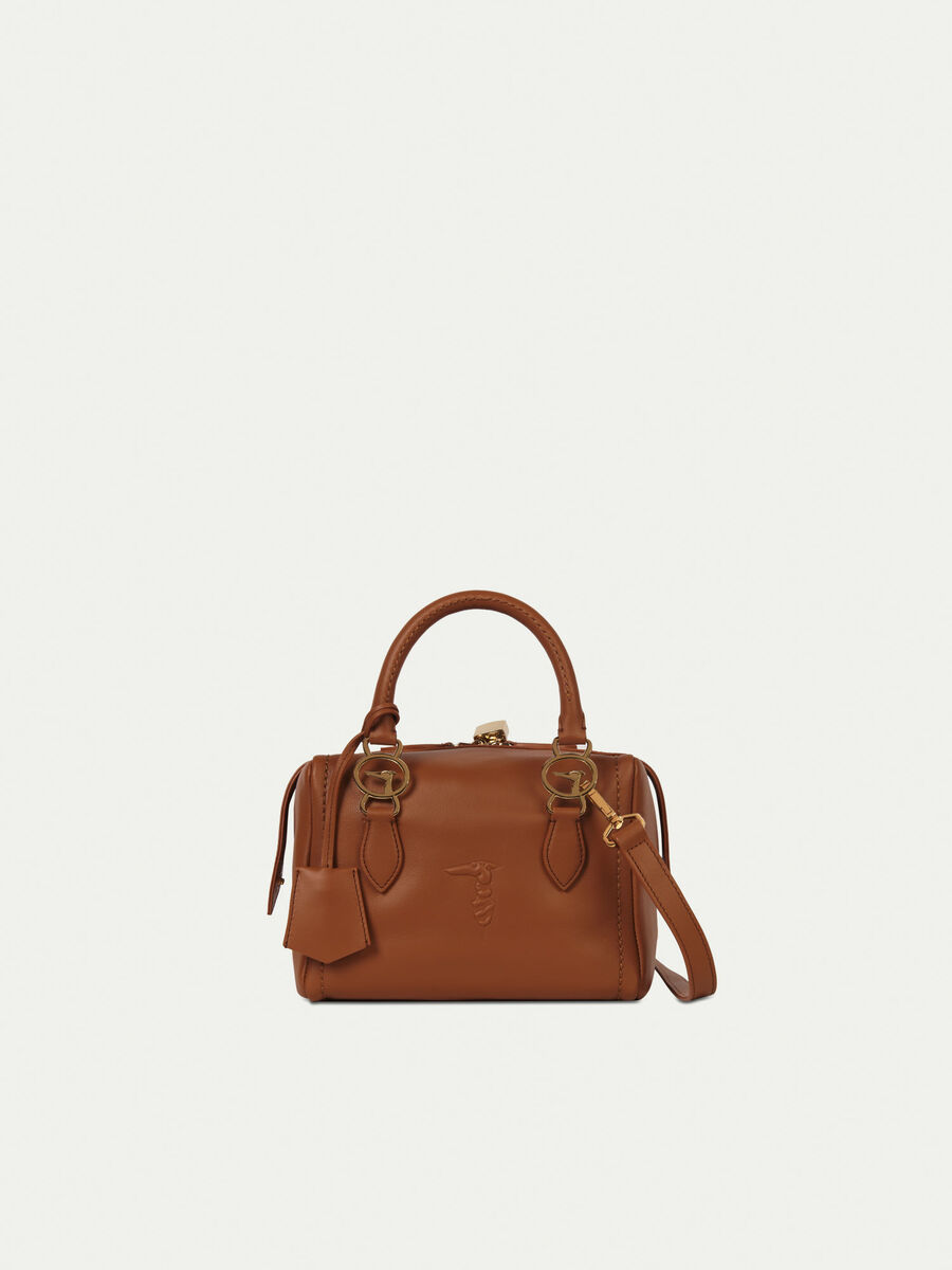 Small smooth leather trunk bag