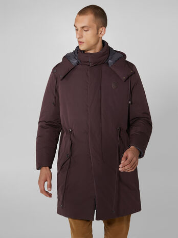 Soft padded memory fabric parka with hood