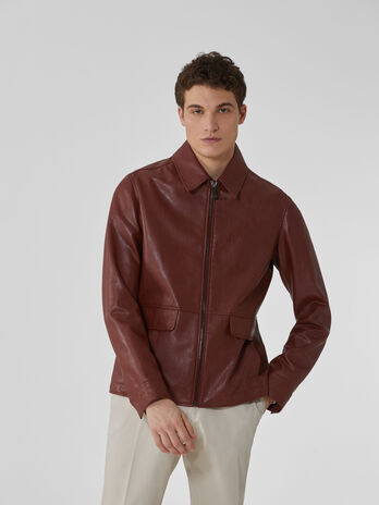 Textured faux leather jacket