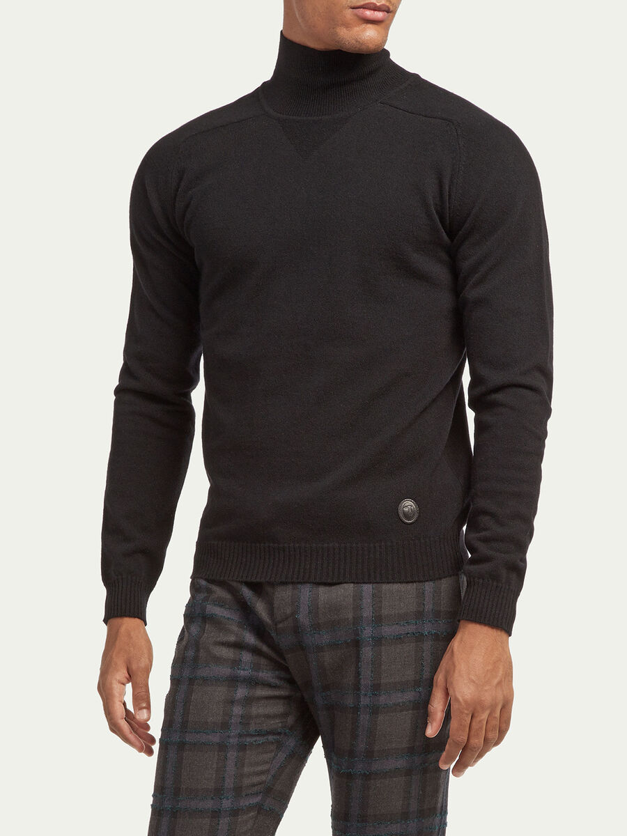 Regular fit cashmere blend polo neck