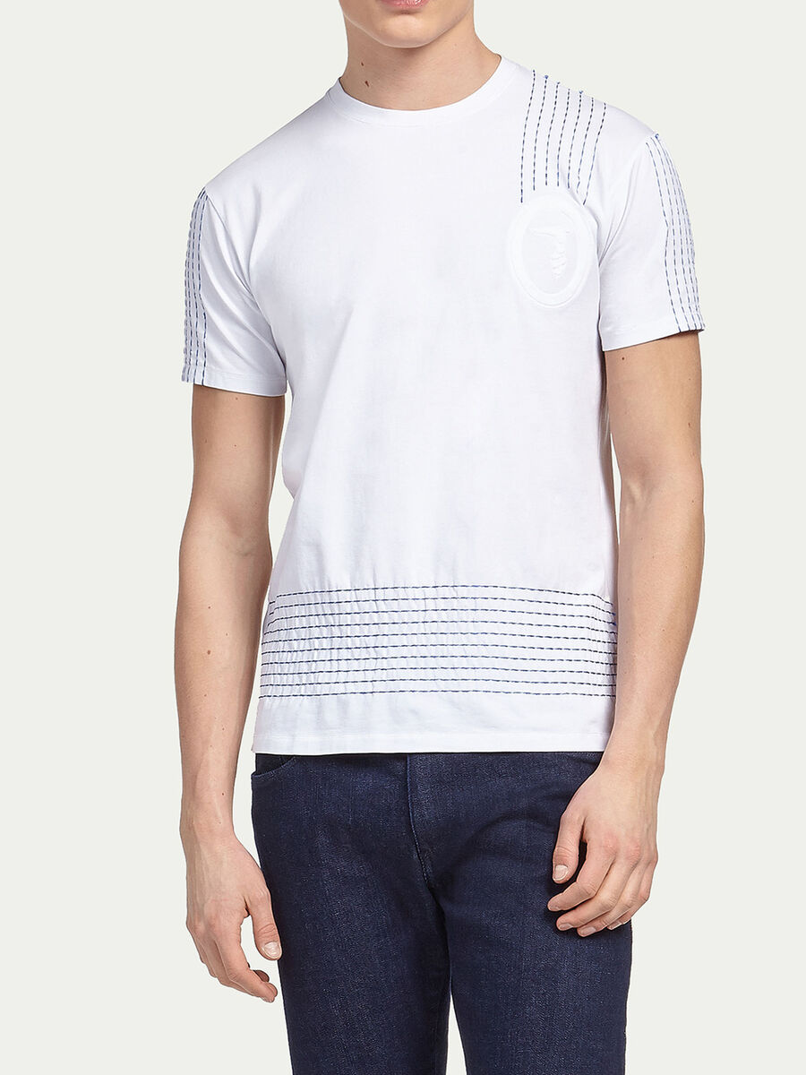 T-shirt jersey stretch con cuciture